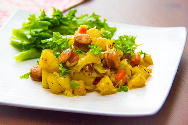 Ugnsrostad potatis med korv